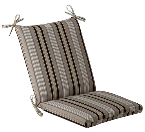 """Gray and Black Striped Outdoor Patio Furniture Corner Chair Cushion 36.5"""" - IMAGE 1"""