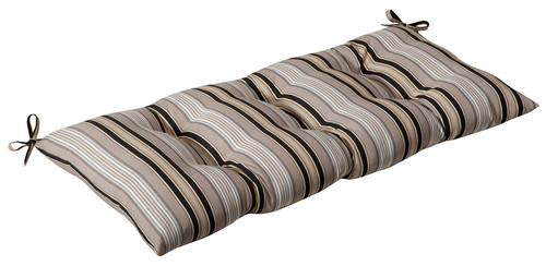 """44"""" Tan Brown and Gray Striped Reversible Outdoor Patio Tufted Wicker Loveseat Cushion - IMAGE 1"""