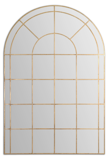 6' Antique Gold Window Shaped Metal Framed Arch Wall Mirror - IMAGE 1