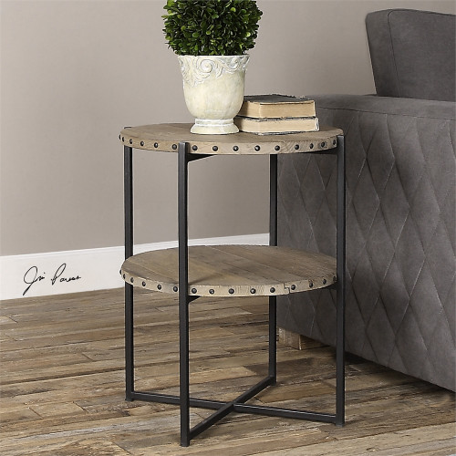 """24"""" Eco-Friendly 2-Tier Distressed Elm Industrial Inspired Round Accent Table - IMAGE 1"""