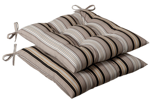 Set of 2 Beige and Tan Brown Striped Reversible Outdoor Patio Tufted Chair Seat Cushion 19-Inch - IMAGE 1