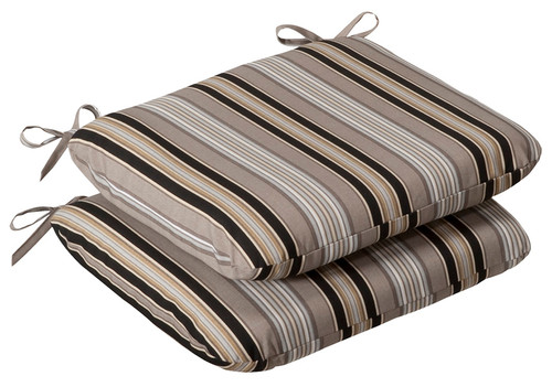 Set of 2 Outdoor Patio Furniture Chair Seat Cushions Black & Tan Striped Voyage - IMAGE 1