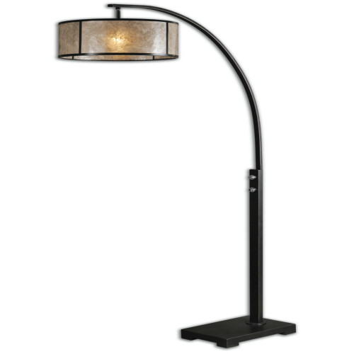 6.5' Campania Oil Rubbed Bronze Floor Lamp with Antiqued Mica Round Drum Shade - IMAGE 1