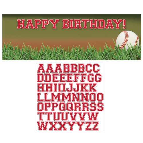 """Pack of 6 Green and White Baseball Sports Giant Birthday Party Banners 60"""" - IMAGE 1"""