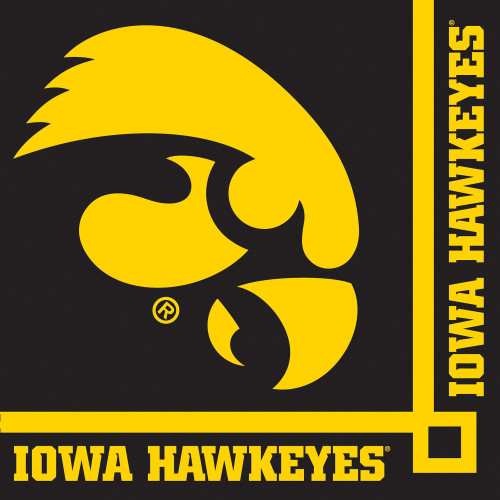 """Club Pack of 240 Black and Yellow NCAA University of Iowa Disposable Party Beverage Napkins 5"""" - IMAGE 1"""