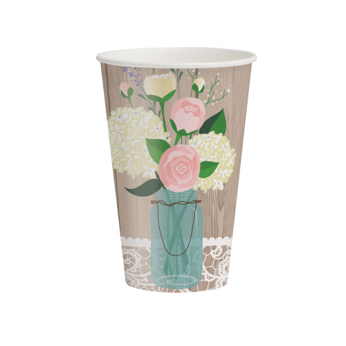 Club Pack Of 96 Rustic Wedding Disposable Paper Hot Cold Drinking Party Cups 12 Oz Christmas Central