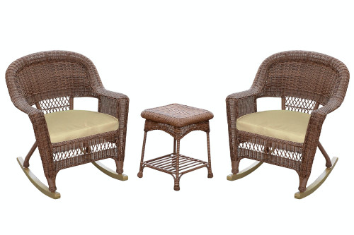 3-Piece Honey Wicker Outdoor Patio Rocker Chairs & End Table Set - Tan Cushions - IMAGE 1
