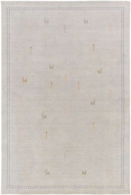 8' x 10' Contemporary Beige and Gray Hand Knotted Wool Area Throw Rug - IMAGE 1