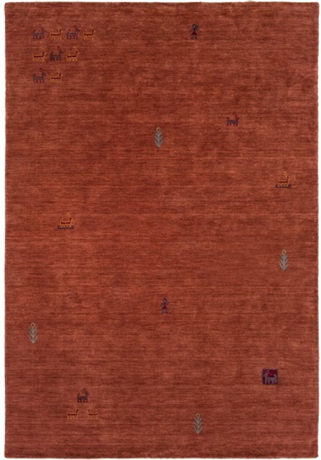 5' x 7.5' Contemporary Brick Red Hand Knotted Wool Area Throw Rug - IMAGE 1