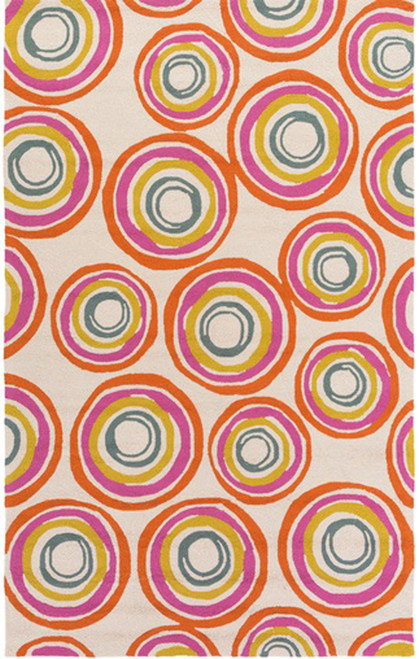 4' x 6' Spiral Pink and Flame Orange Hand Hooked Area Throw Rug - IMAGE 1