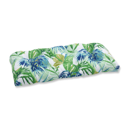 """Set of 2 Blue and Green Outdoor Patio Chaise Lounge Cushion 44"""" - IMAGE 1"""