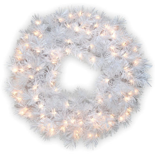 """30"""" Wispy Willow Grande White Wreath with Clear Lights - IMAGE 1"""