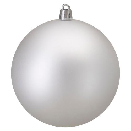 "Matte Silver Shatterproof Christmas Ball Ornament 4"" (100mm) - IMAGE 1"