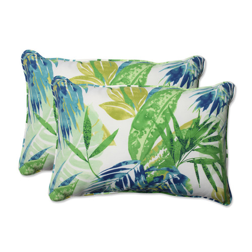 "Set of 2 Blue and Green Caribbean Forest Outdoor Corded Throw Pillows 24.5"" - IMAGE 1"