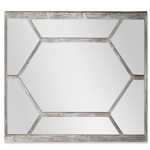 6.5' Oversized Distressed Silver Leaf Wood Framed Rectangular Wall Mirror - IMAGE 1