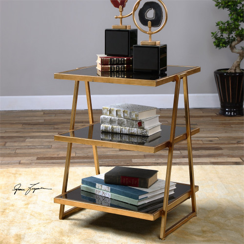 """28"""" Tri-Layered Shelf Antiqued Gold with Black Glass Iron Accent Table - IMAGE 1"""