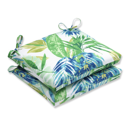 "Set of 2 Blue and Green Outdoor Patio Chaise Lounge Cushion 18.5"" - IMAGE 1"