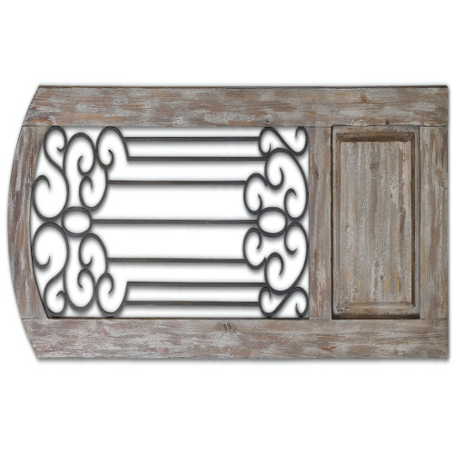 6.25' Decorative Wall Decor Panel with Distressed Finish and Hand Forged Metal Details - IMAGE 1