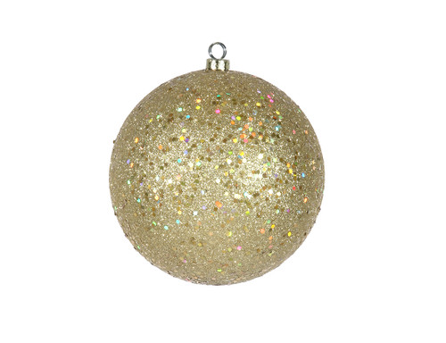 """Holographic Glitter Champagne Gold Shatterproof Christmas Ball Ornament 6"""" (150mm) - IMAGE 1"""