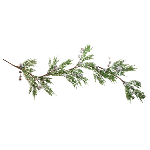 5' White Berries and Pine Cones Artificial Cedar Christmas Garland, Unlit - IMAGE 1