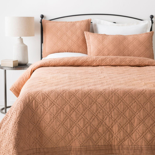 Neutral Peach Pink and Brown Modern Style Linen Twin Bedding Set - IMAGE 1