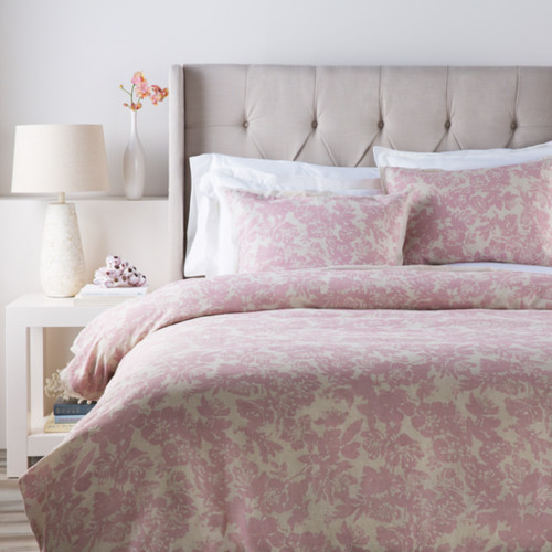Dusty Rose Pink and Cool Gray Elegant Blossom Dreams Linen Decorative Twin Duvet - IMAGE 1
