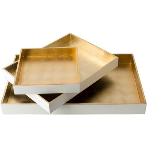 """Set of 3 Stark White and Tan Brown Modern Style Tray Decorative Accent 19.7"""" - IMAGE 1"""