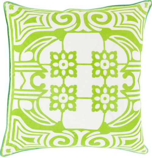 """22"""" Neon Green and White Floral Patterned Square Throw Pillow - Down Filler - IMAGE 1"""