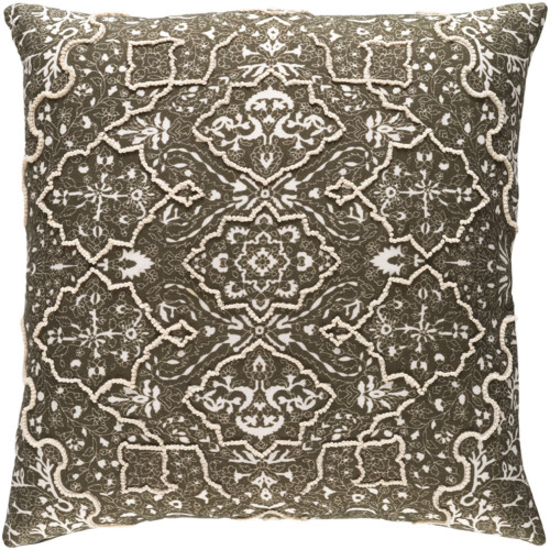 "18"" Pine Green and Ivory Traditional Square Throw Pillow - Down Filler - IMAGE 1"