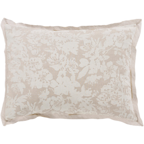 Cool Grey and Sandstone White Elegant Blossom Dreams Linen Decorative King Sham - IMAGE 1