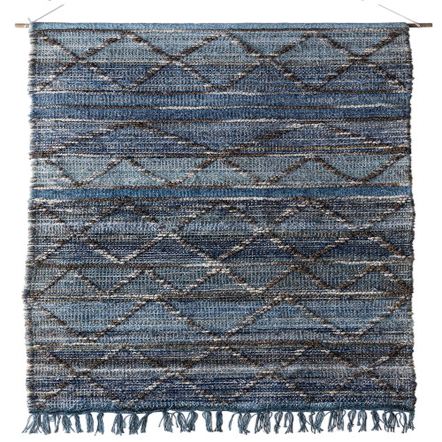 2.5' x 5' Soft Slate and Pale Baby Gray Blue and Artic White Hand Woven Hanging Wall Decor - IMAGE 1