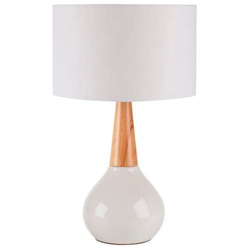 """18.5"""" Contemporary Tear Drop Shaped Table Lamp with White Drum Shade - IMAGE 1"""