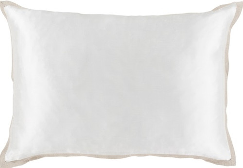 """19"""" Pearl White Contemporary Shiny Rectangular Throw Pillow - Down Filler - IMAGE 1"""