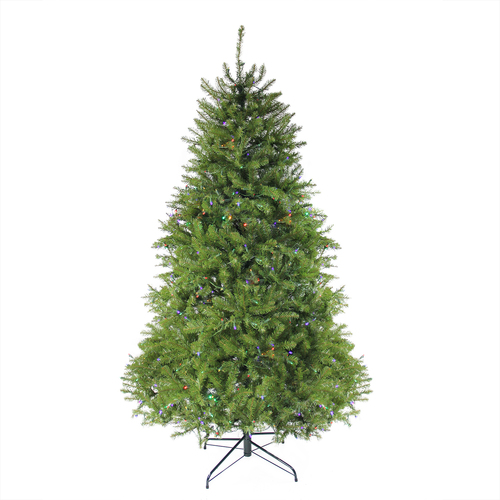 7.5' Pre-Lit Full Northern Pine Artificial Christmas Tree - Multicolor LED Lights - IMAGE 1