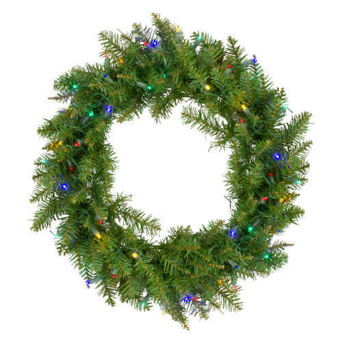 "24"" Pre-Lit Northern Pine Artificial Multi-Color LED Lights Christmas Wreath - IMAGE 1"