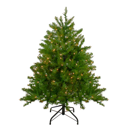 4' Pre-Lit Northern Pine Full Artificial Christmas Tree - Clear Lights - IMAGE 1