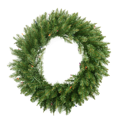 Pre-Lit Northern Pine Artificial Christmas Wreath - 24-Inch, Multi Color Lights - IMAGE 1