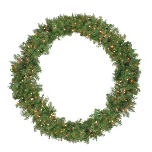 Pre-Lit Northern Pine Artificial Christmas Wreath - 48-Inch, Clear Lights - IMAGE 1