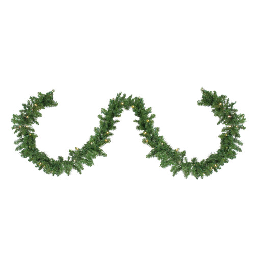 "9' x 10"" Pre-Lit Northern Pine Artificial Christmas Garland - Warm White LED Lights - IMAGE 1"