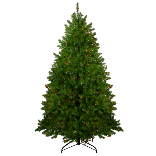 6.5' Pre-Lit Northern Pine Full Artificial Christmas Tree - Multi-Color Lights - IMAGE 1