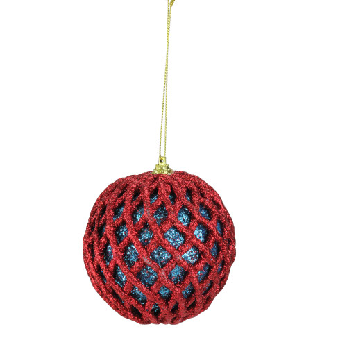 Glittered Red and Blue Shatterproof Christmas Ball Ornament 4.5'' (115mm) - IMAGE 1