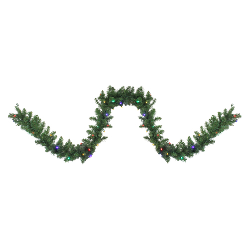 "9' x 10"" Pre-Lit Northern Pine Artificial Christmas Garland - Multi-Color LED Lights - IMAGE 1"