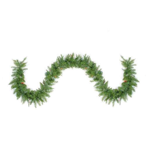 "9' x 10"" Pre-Lit Northern Pine Artificial Christmas Garland - Multi Color Lights - IMAGE 1"