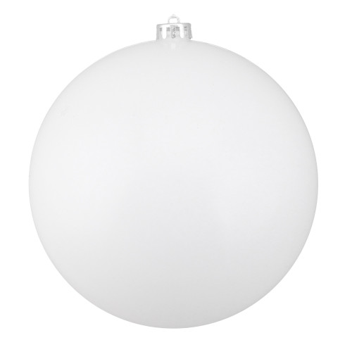 "Shiny White Shatterproof Christmas Ball Ornament 8"" (200mm) - IMAGE 1"