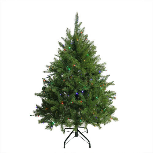 4' Pre-Lit Full Northern Pine Artificial Christmas Tree - Multicolor LED Lights - IMAGE 1