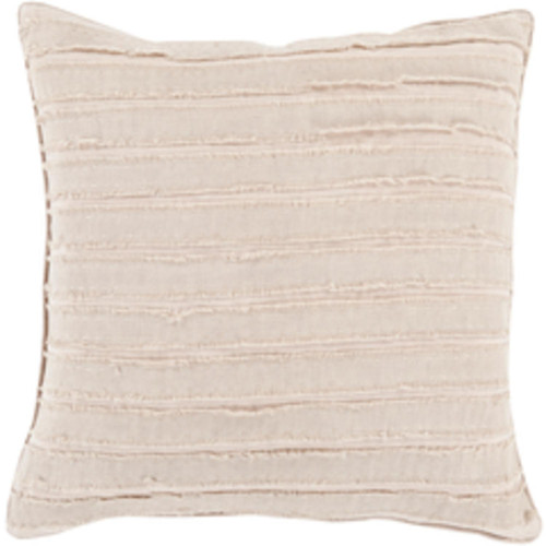 """18"""" Khaki and Nude Brown Fringe Striped Decorative Throw Pillow - Down Filler - IMAGE 1"""