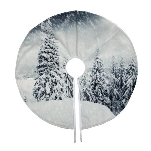 "23"" White and Gray Snowy Woodland Scene Mini Christmas Tree Skirt - IMAGE 1"