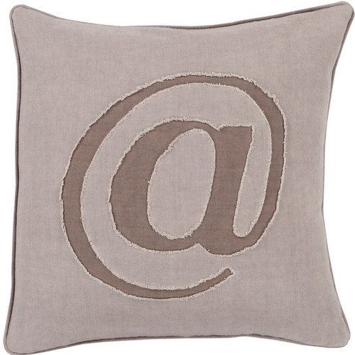 "18"" Beige and Brown Trending Contemporary Square Throw Pillow - Down Filler - IMAGE 1"