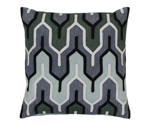 """20"""" Charcoal Black and White Geometric Empire Square Throw Pillow - Down Filler - IMAGE 1"""