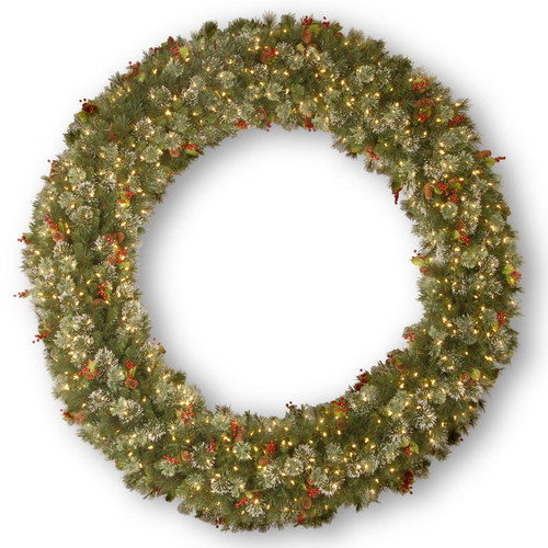 """72"""" Pre-Lit Wintry Pine Artificial Christmas Wreath - Clear Lights - IMAGE 1"""